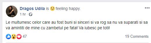"""BREAKING NEWS Cântărețul UDDI, mesaj de ADIO pe Facebook: """"Să vă amintiți de mine cu zâmbetul pe față!"""""""
